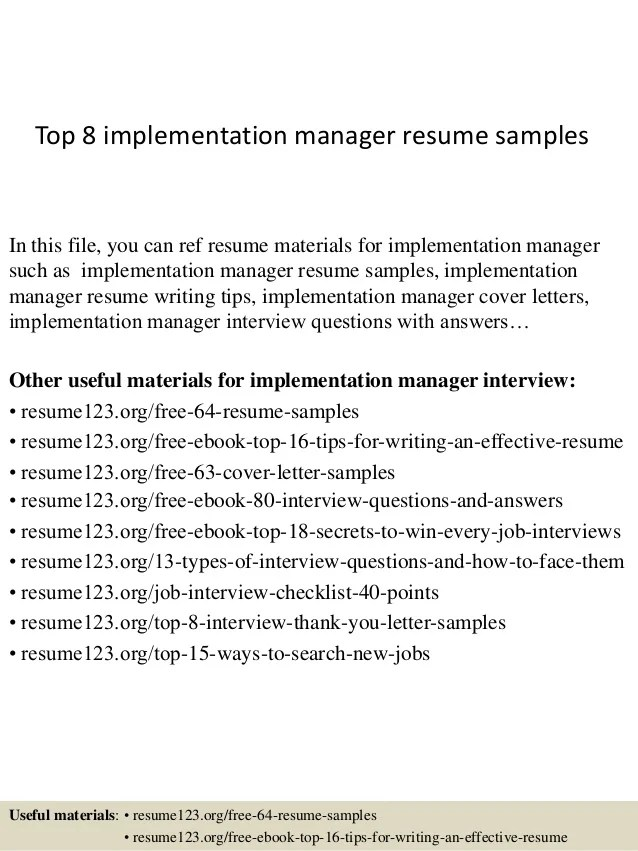 sample of resume for implementation coordinator