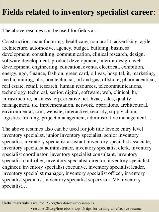 cover letter personable inventory specialist resume objective