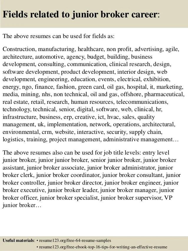 stock broker resume - Akbagreenw - customs broker sample resume