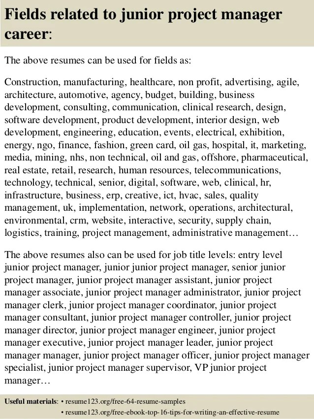 junior project manager resumes - Josemulinohouse - project manager resume samples