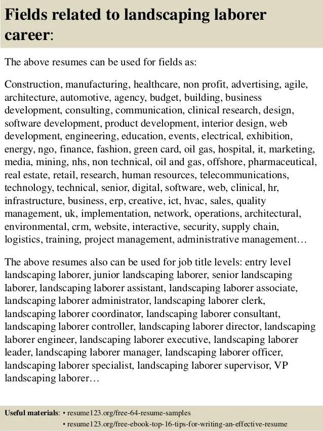 sample resume for landscaping laborer - Onwebioinnovate - landscaping resume samples