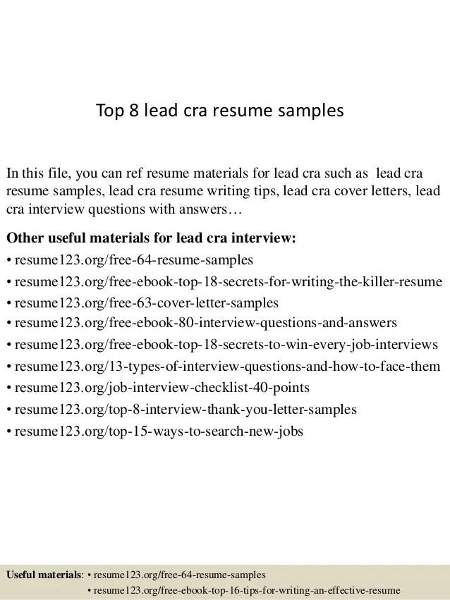cra sample resume - Trisamoorddiner