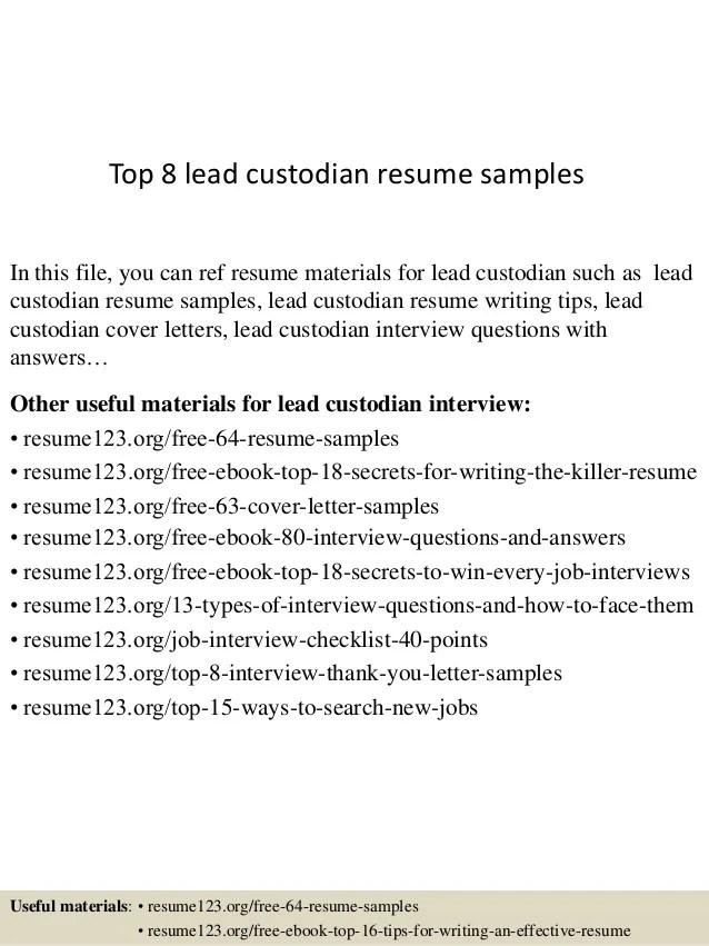 custodian resume sample - Minimfagency - custodial worker sample resume