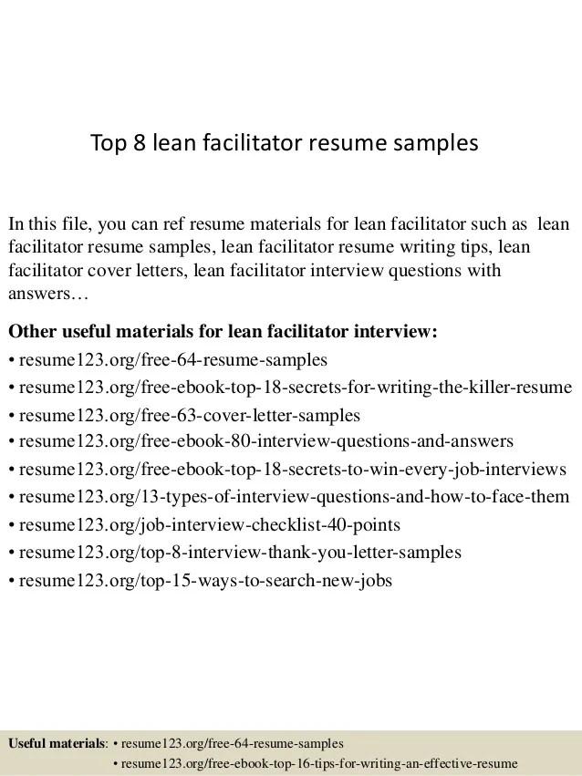 facilitator resume samples - Ozilalmanoof - lean specialist sample resume