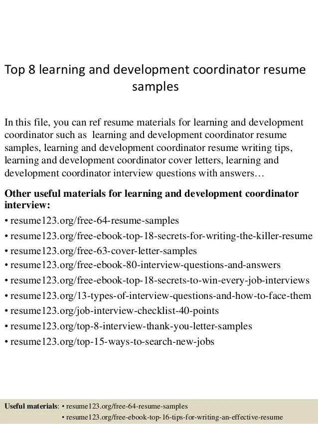 training and development resume samples - Onwebioinnovate - training coordinator resume