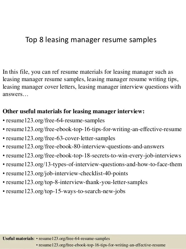 leasing manager resume - Goalgoodwinmetals