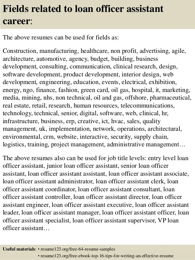 Top 8 loan officer assistant resume samples