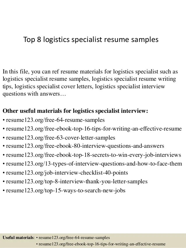 resume for logistics specialist - Onwebioinnovate