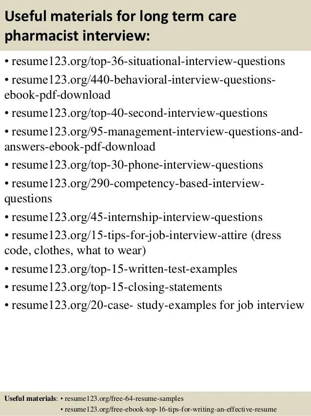 long term care pharmacist resume examples