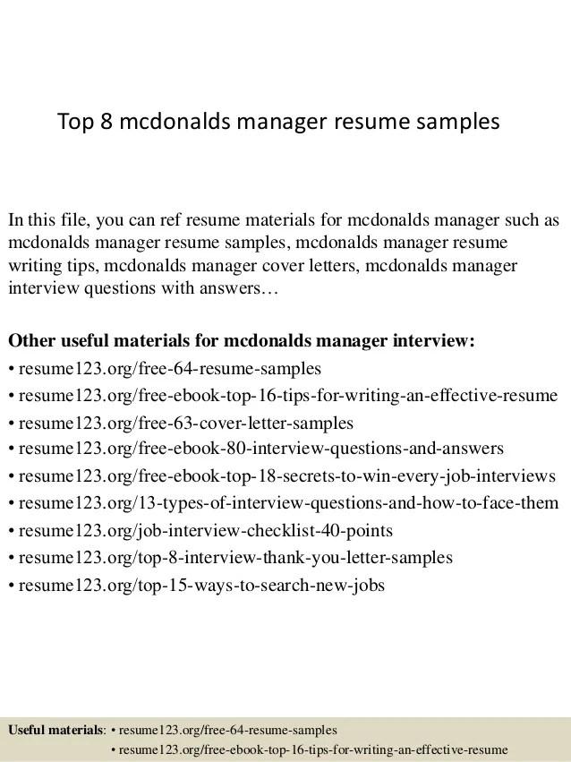 A Good Mcdonalds Resume Free Mcdonalds Application Online 2017 Jobler Top 8 Mcdonalds Manager Resume Samples