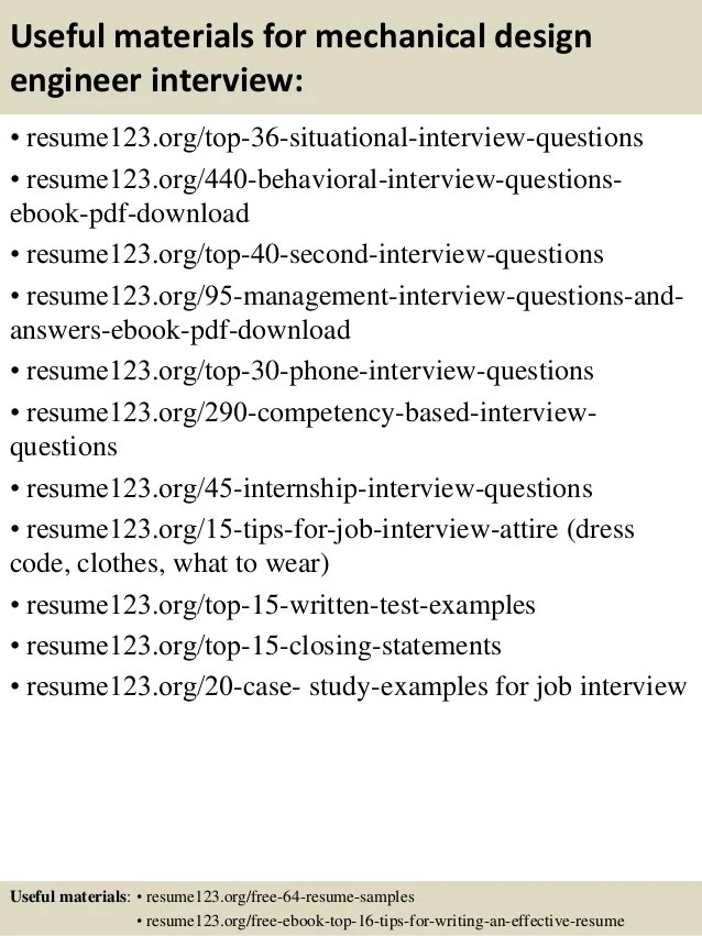 Case Study Interview Examples Questions And Answers Top 8 Mechanical Design Engineer Resume Samples