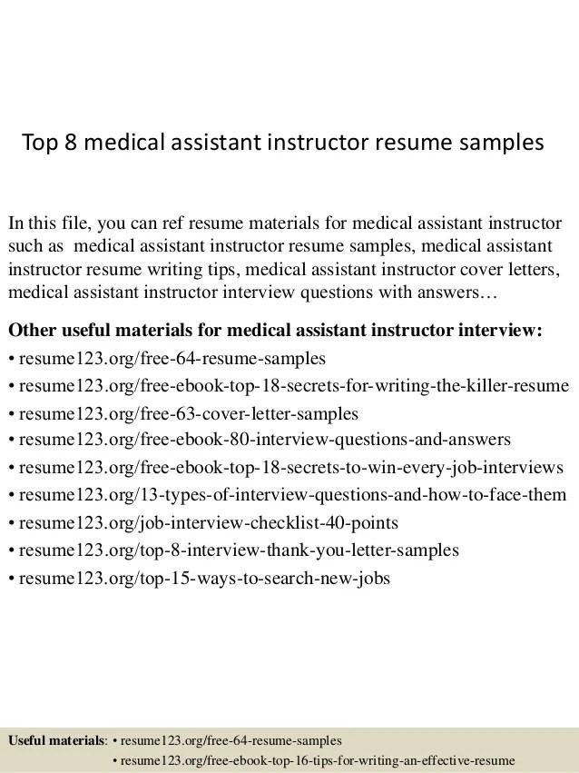 medical assistant instructor resume - Vatozatozdevelopment - sample resume for medical assistant
