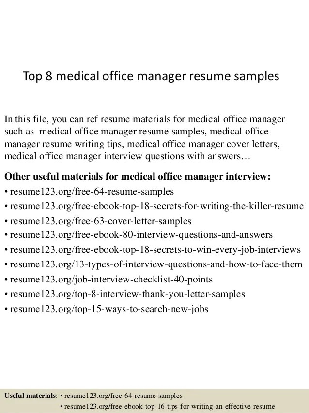 sample medical office manager resumes - Goalgoodwinmetals