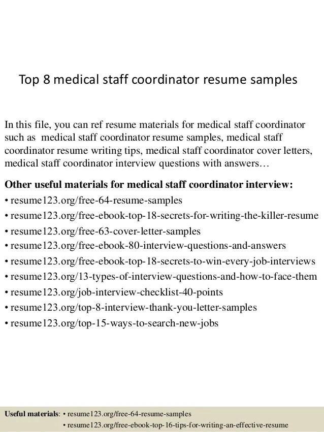 sample resume for medical staff coordinator