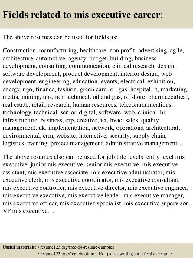 mis executive resume sample - Onwebioinnovate - executive resumes samples