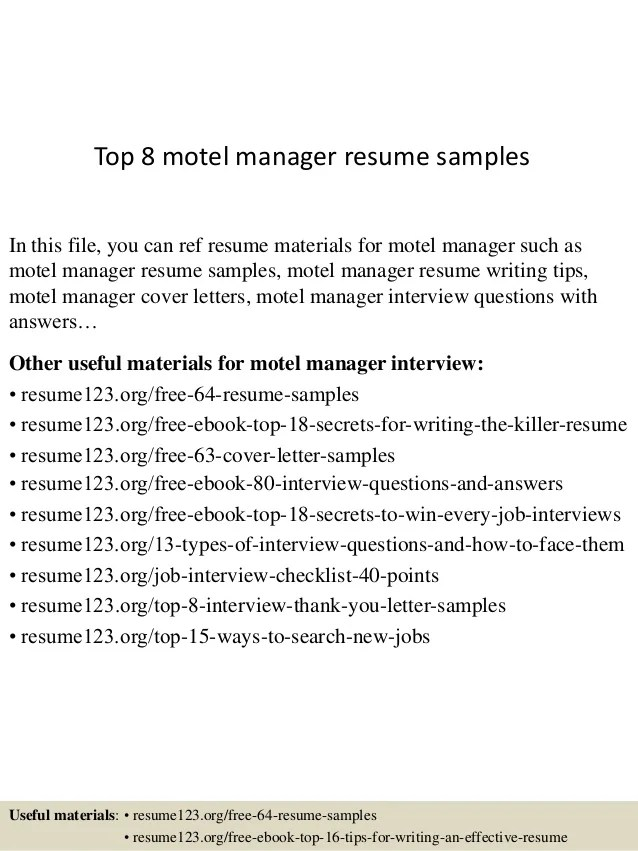 motel manager resume example