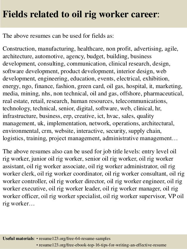 oil rig worker resume samples