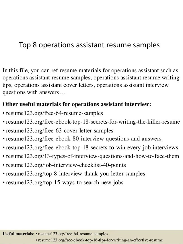 operations assistant resume - Funfpandroid - activity assistant sample resume