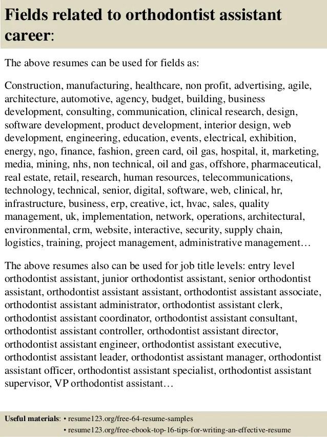 orthodontist resume examples - Physicminimalistics
