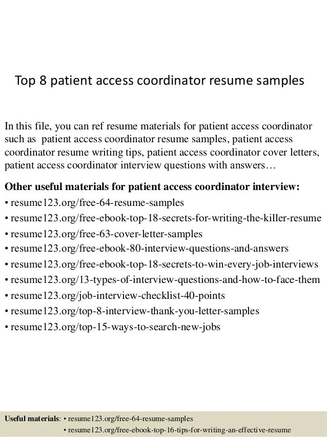 sample resume for patient access supervisor