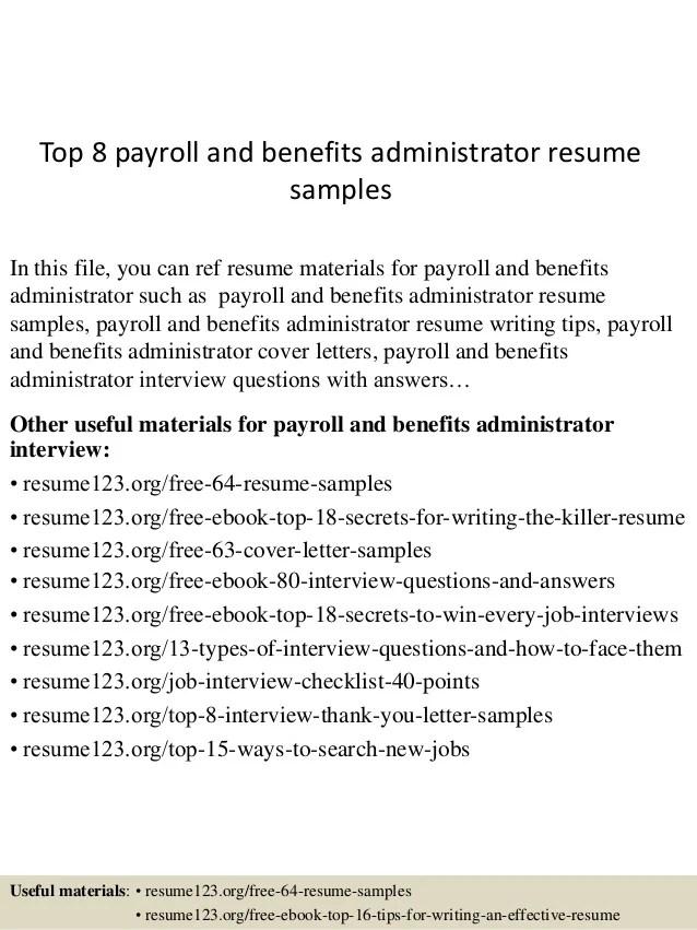 sample benefits administrator resume - Onwebioinnovate