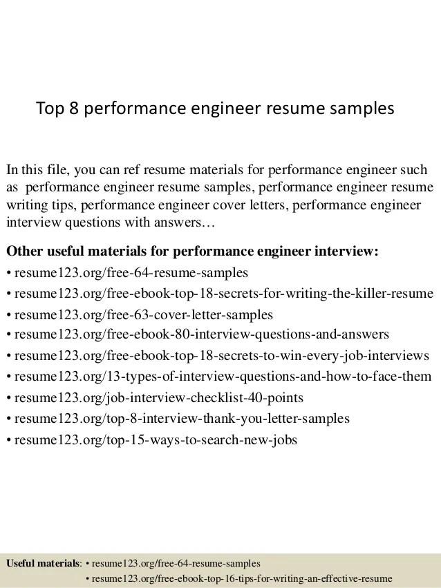 performance engineer resumes - Trisamoorddiner