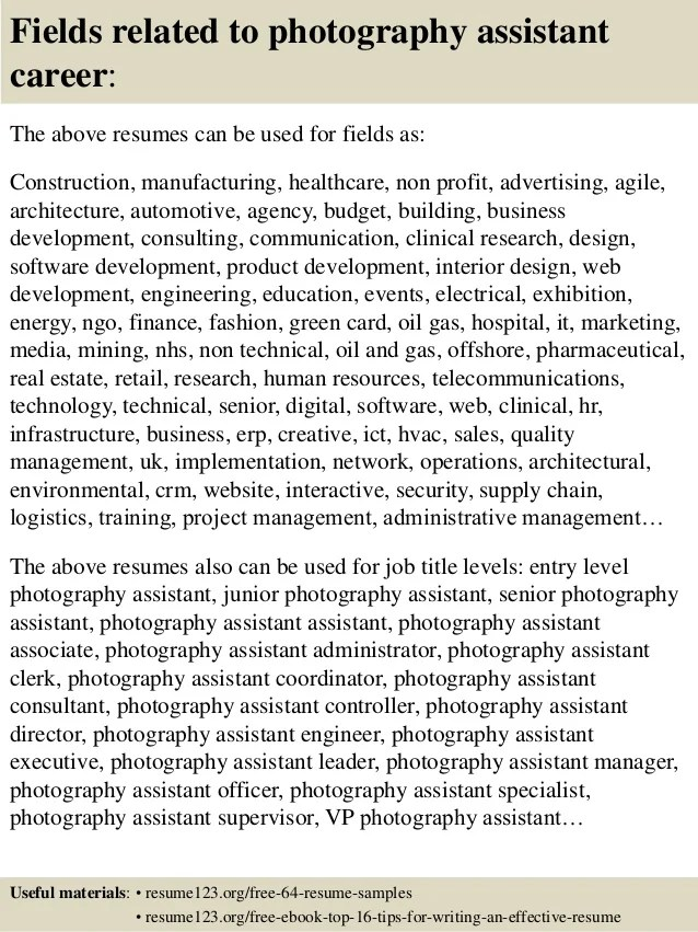 photography assistant resumes - Towerssconstruction