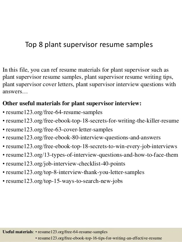 manufacturing supervisor resumes - Funfpandroid