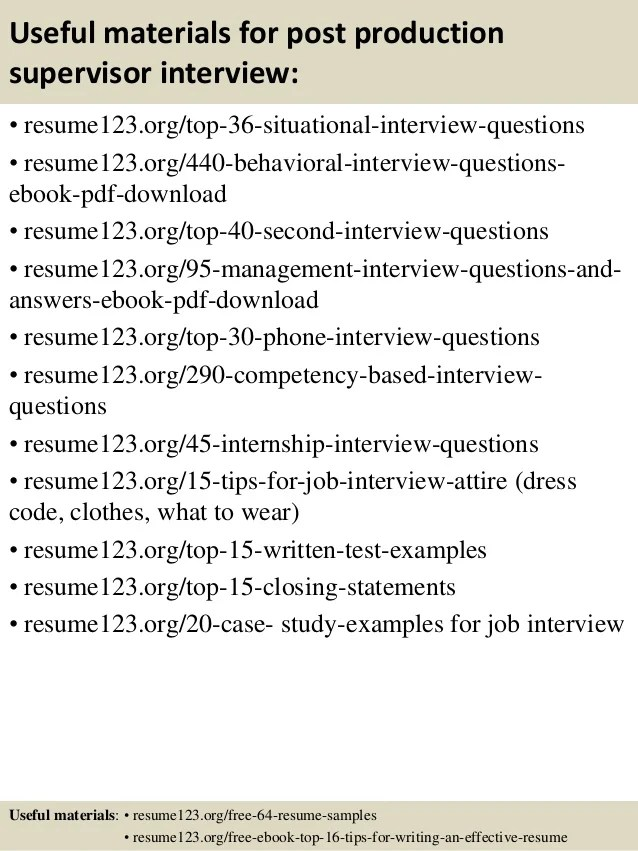 production supervisor interview questions - Josemulinohouse - production supervisor resume