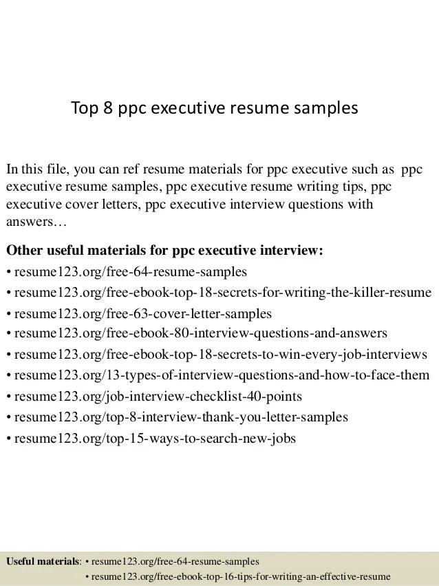 ppc executive resume