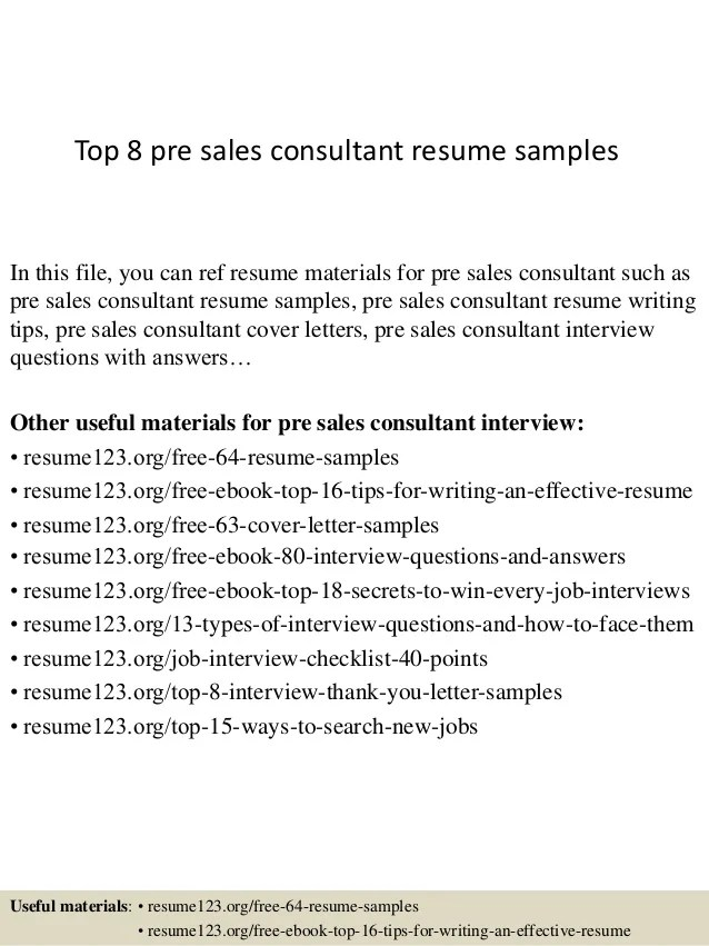 pre sales resumes - Minimfagency - Sample Personal Protection Consultant Resume