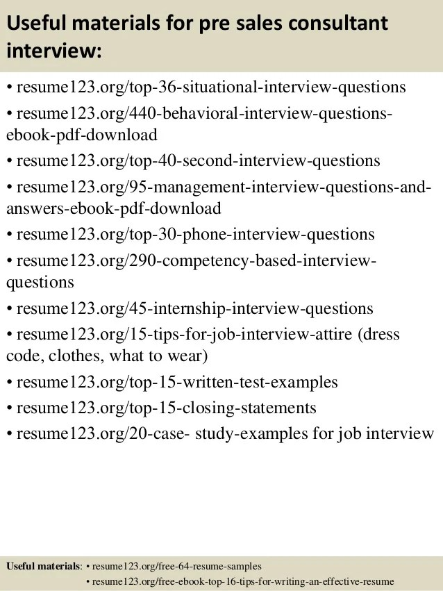 pre sales consultant resume - Onwebioinnovate