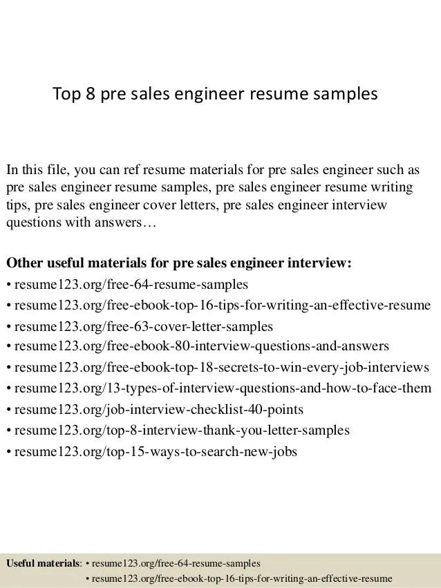 pre sales engineer resumes - Jolivibramusic - sales resumes