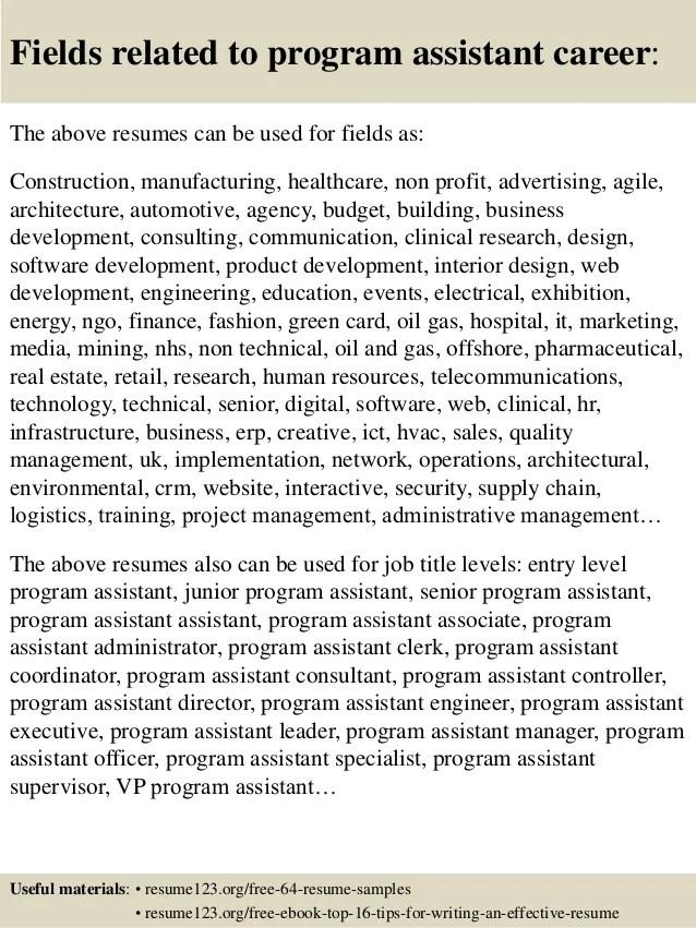 program assistant resumes - Ozilalmanoof - program assistant sample resume