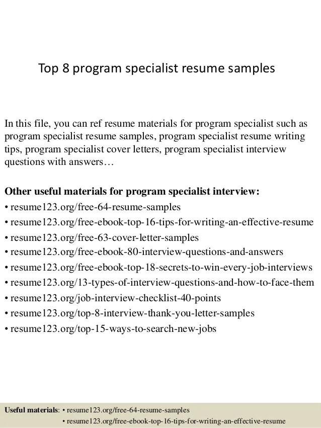 program specialist resumes - Romeolandinez - food specialist sample resume