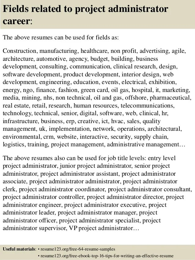project administrator resume sample - Funfpandroid