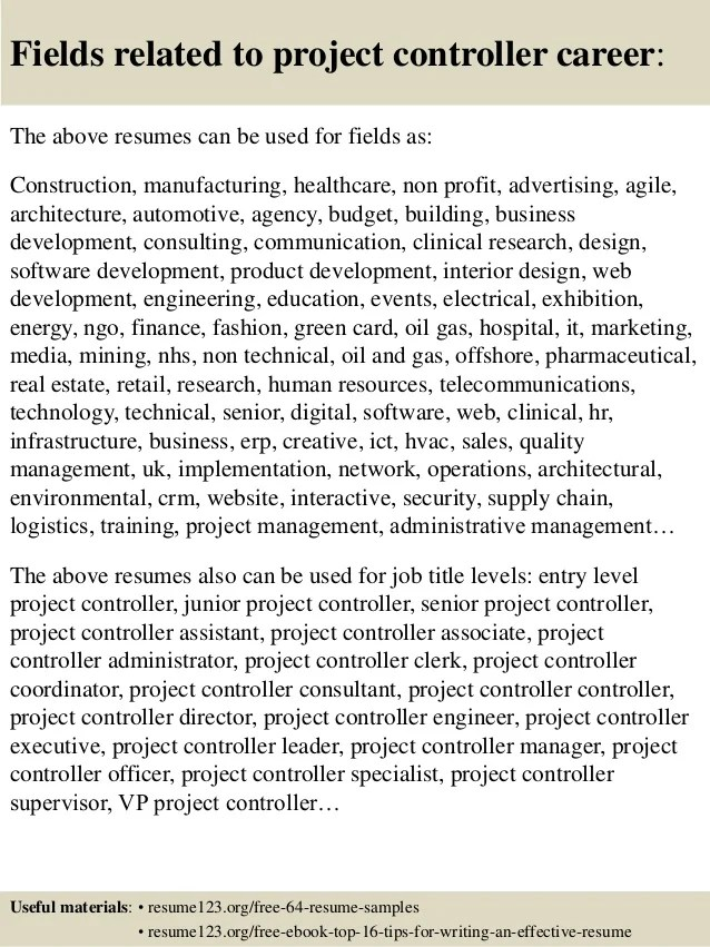 project controls resume examples - Onwebioinnovate