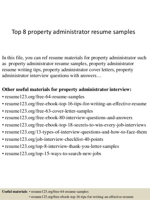 property administrator resume - Trisamoorddiner