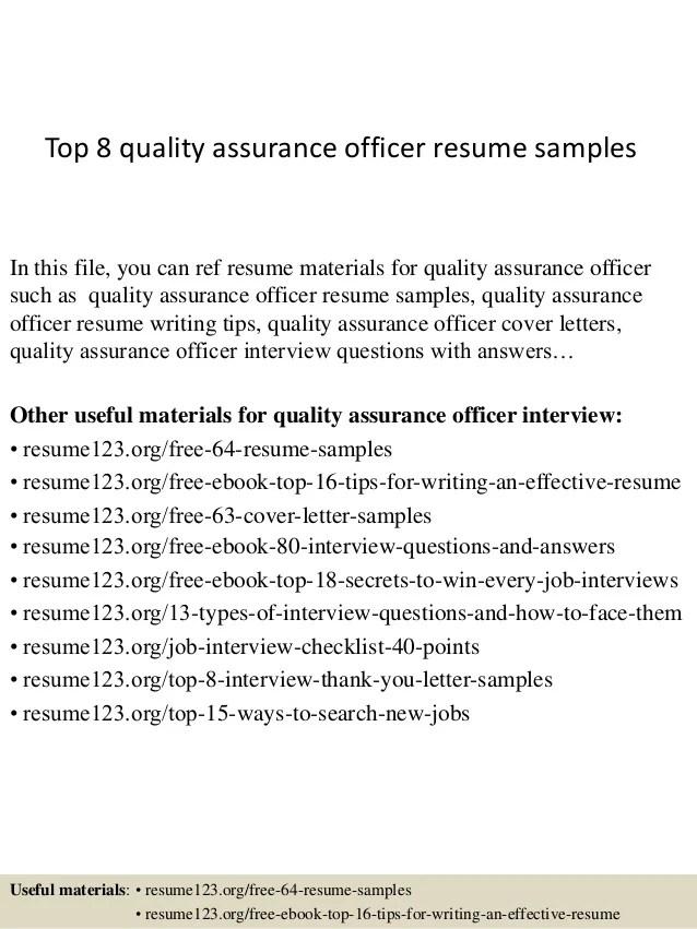 quality assurance sample resume - Maggilocustdesign