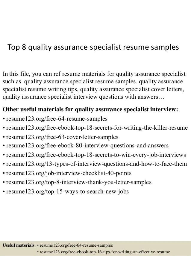 quality assurance profile resume