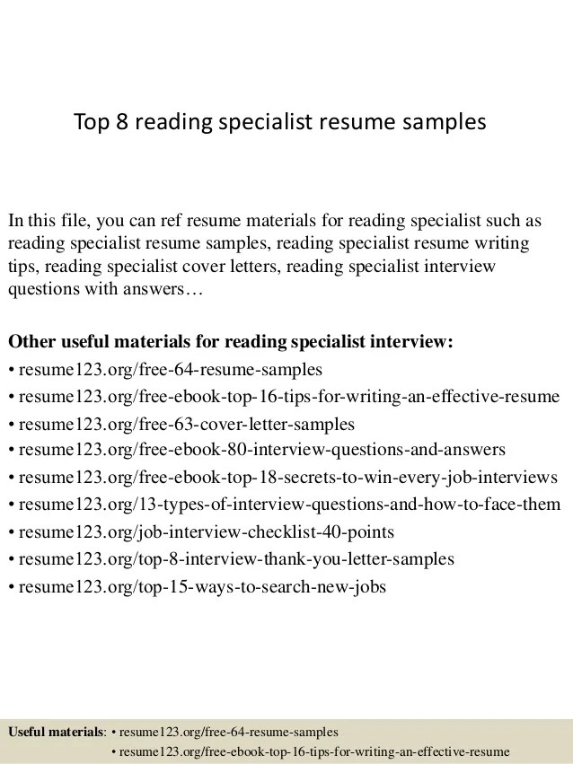 reading specialist resumes - Onwebioinnovate