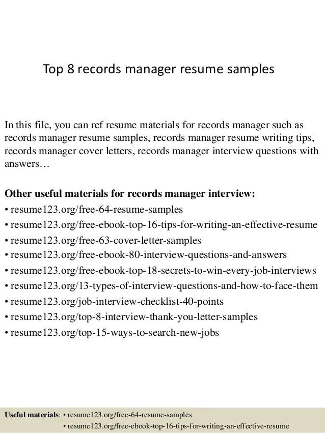 records management resume - Koranayodhya