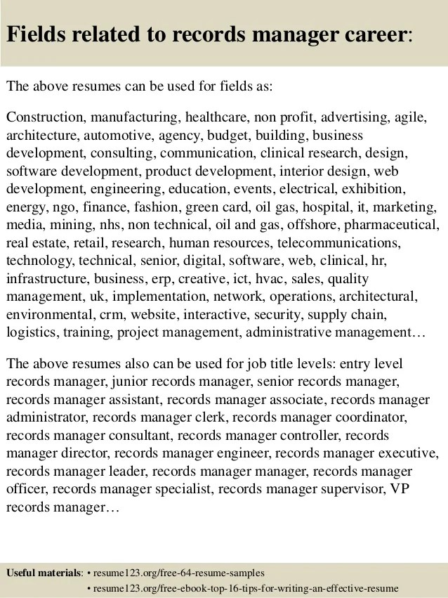 It Manager Resume Example Resume Writing Resume Top 8 Records Manager Resume Samples