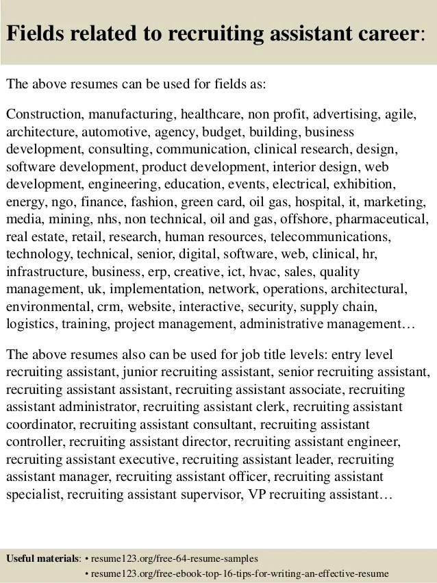 recruiting assistant resumes - Minimfagency
