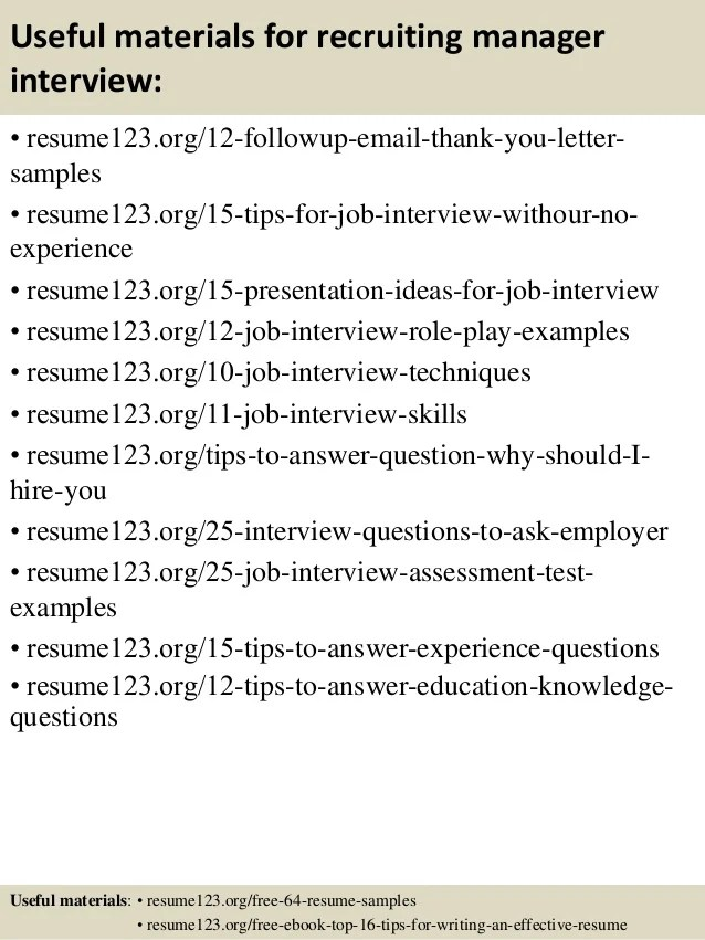 ... Recruiting Manager Resume Template Recruiter Resume Objective Hr   Recruiting  Resume ...