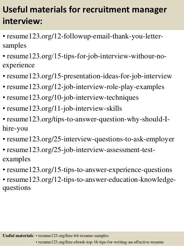 Amazing Resume Creator Top 8 Recruitment Manager Resume Samples