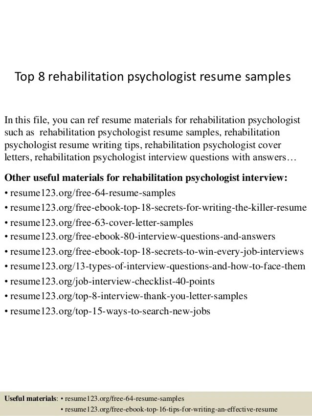 psychologist resume sample - Onwebioinnovate - rehabilitation specialist sample resume