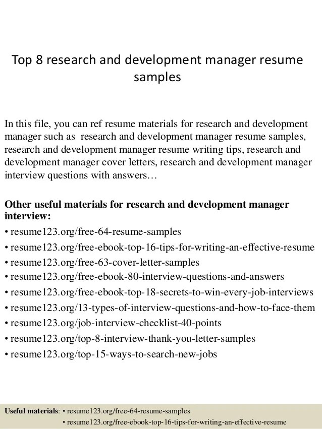resume sample research and development