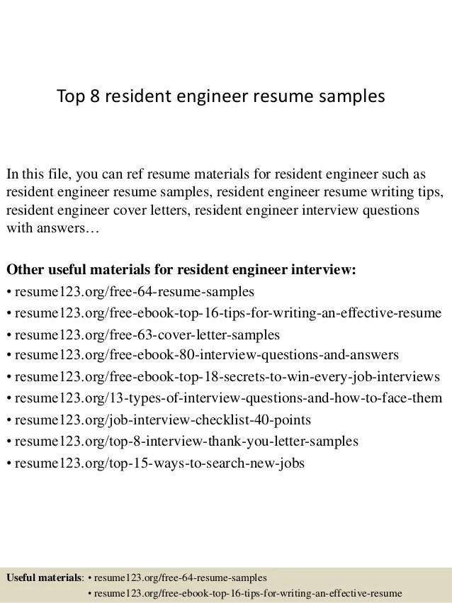 sample resume for resident engineer