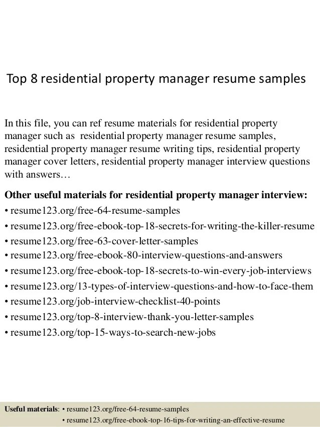 property manager resume sample - Onwebioinnovate